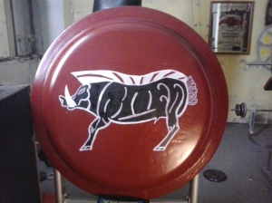 "Shield depicting the boar of Stenyclaros base on exhibit at the sparta Museum. Courtesy of the living history group ""Koryvantes"""