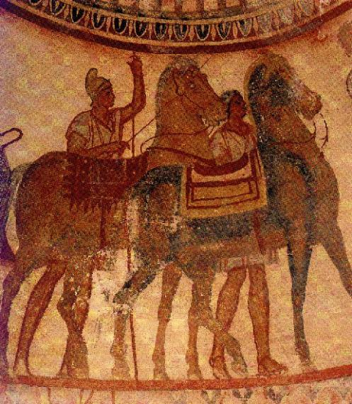 Thacian horseman with saddled horses