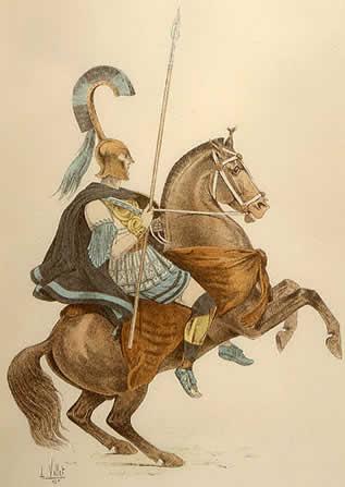 Αναπαράσταση Θεσσαλού ιππέα από γκραβούρα του 19ου αιώνα