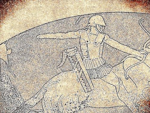 Artistic depiction of an armored archer on horseback from an attic dated to 470 BC and painted by Pistoxenos. The original is in the Asmolean Museum, Oxford
